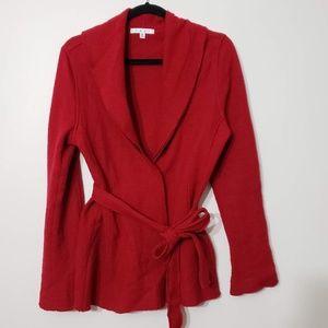CAbi Red Hidden Button Closure Jacket, sz M